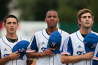 19 August 2010: Matt Lapinski, Andy Paz, Thomas Dourlens, are seen during the national anthem prior to France 7-6 win over Slovakia, at the 2010 European Championship, under 21, in Brno, Czech Republic.