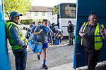 The Clare team arriving late, following a bus break down, for their Munster Minor football semi-final against Tipperary at Thurles. Photograph by John Kelly.