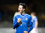 Dundee v St Johnstone…29.12.18…   Dens Park    SPFL<br />Scott Tanser celebrates with the fans at full time<br />Picture by Graeme Hart. <br />Copyright Perthshire Picture Agency<br />Tel: 01738 623350  Mobile: 07990 594431