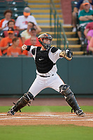 Delmarva Shorebirds catcher Adley Rutschman (37) throws down to second base during a South Atlantic League game against the Greensboro Grasshoppers on August 21, 2019 at Arthur W. Perdue Stadium in Salisbury, Maryland.  Delmarva defeated Greensboro 1-0.  (Mike Janes/Four Seam Images)