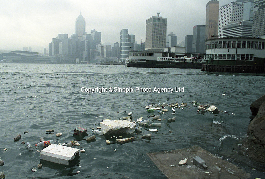 Sewage waste in the Victoria Habour, Hong Kong.