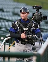 2007:  J.R. House of the Norfolk Tides in the dugout prior to a game vs the Rochester Red Wings in International League baseball action.  Photo by Mike Janes/Four Seam Images