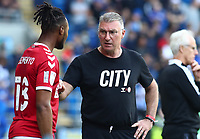 28th August 2021; Cardiff City Stadium, Cardiff, Wales;  EFL Championship football, Cardiff versus Bristol City; Nigel Pearson, Manager of Bristol City gives instructions to substitute Antoine Semenyo of Bristol City