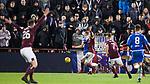 29.02.2020 Hearts v Rangers: George Edmundson Handball goes out for a corner