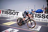 Remco Evenepoel (BEL/Deceuninck-Quickstep) off the start ramp<br /> <br /> Men Elite Individual Time Trial <br /> from Knokke-Heist to Bruges (43.3 km)<br /> <br /> UCI Road World Championships - Flanders Belgium 2021<br /> <br /> ©kramon
