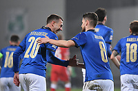 Jorginho of Italy celebrates after scoring a goal on penalty  with Federico Bernardeschi during the Uefa Nation League Group Stage A1 football match between Italy and Poland at Citta del Tricolore Stadium in Reggio Emilia (Italy), November, 15, 2020. Photo Andrea Staccioli / Insidefoto