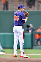 Clemson Tigers starting pitcher Pat Krall (36) prepares to deliver a pitch during a game against the Notre Dame Fighting Irish at Doug Kingsmore Stadium on March 11, 2017 in Clemson, South Carolina. The Tigers defeated the Fighting Irish 6-5. (Tony Farlow/Four Seam Images)