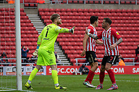 22nd May 2021; Stadium of Light, Sunderland, Tyne and Wear, England; English Football League, Playoff, Sunderland versus Lincoln City; Chris Maguire of Sunderland congratulates Lee Burge of Sunderland after Lincoln City's missed penalty