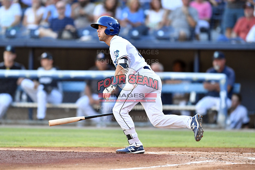 Asheville Tourists Max George (22) runs to first base during a game against the Charleston RiverDogs at McCormick Field on August 16, 2019 in Asheville, North Carolina. The Tourists defeated the RiverDogs 12-3. (Tony Farlow/Four Seam Images)