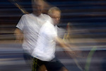 Editors' Note: Bulk Function was in used. USA's John McEnroe returns the serve during the HSBC Tennis Cup series at First Niagara Center in Buffalo, NY on October 22, 2011