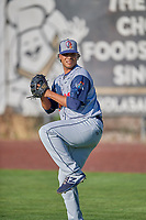 Rocky Mountain Vibes starting pitcher Wuilder Rodriguez (35) warms up in the outfield before the game against the Ogden Raptors at Lindquist Field on July 19, 2019 in Ogden, Utah. The Raptors defeated the Vibes 9-5. (Stephen Smith/Four Seam Images)
