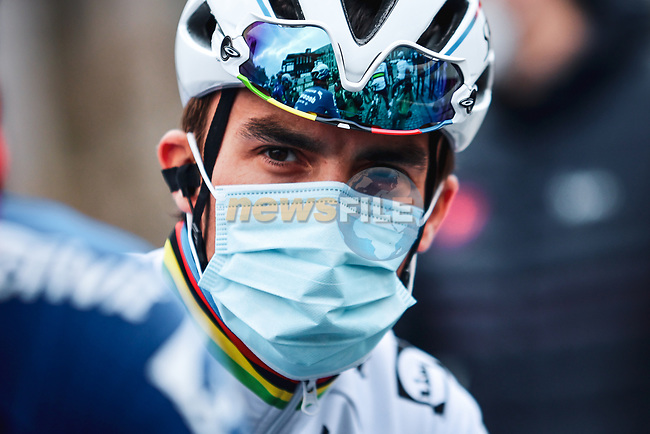 World Champion Julian Alaphilippe (FRA) Deceuninck-Quick Step at the team presentations before the start of the 107th edition of Liege-Bastogne-Liege 2021, running 259.1km from Liege to Liege, Belgium. 25th April 2021.  <br /> Picture: A.S.O./Aurelien Vialatte | Cyclefile<br /> <br /> All photos usage must carry mandatory copyright credit (© Cyclefile | A.S.O./Aurelien Vialatte)