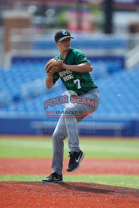 Aidan Rice (7) of Riverside High School in Durham, NC during the Atlantic Coast Prospect Showcase hosted by Perfect Game at Truist Point on August 23, 2020 in High Point, NC. (Brian Westerholt/Four Seam Images)