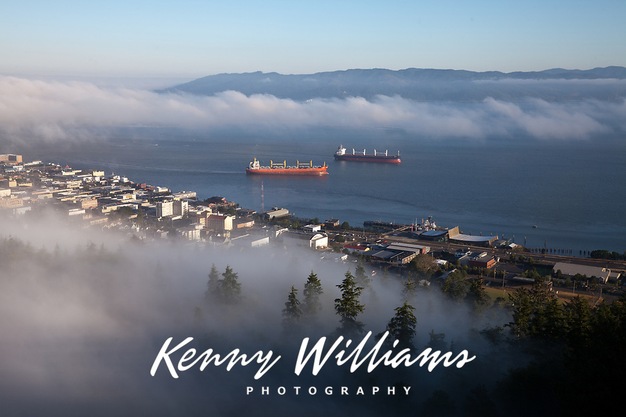 Fog Surrounding Astoria and Columbia River, Oregon, USA.