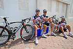 Lotto-Belisol team riders relax before the start of the 1st Stage of the 2012 Tour of Qatar running from Umm Slal Mohammed to Doha Golf Club, Doha, Qatar, 5th February 2012 (Photo Eoin Clarke/Newsfile)