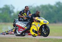 April 30, 2011; Baytown, TX, USA: NHRA pro stock motorcycle rider Michael Phillips during the Spring Nationals at Royal Purple Raceway. Mandatory Credit: Mark J. Rebilas-