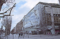 The Publicis building on the Champs Elysees street, modern avant garde glass facade, Paris. Paris, France.
