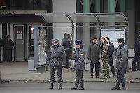 Moscow, Russia, 29/03/2010..Scenes outside Lubyanka metro station, where at least 24 people were killed in a morning rush hour suicide bombing. A second bomb exploded at Park Kultury metro station, killing at least another 14 people. FSB bomb squad officer and police..