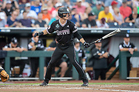 Mississippi State Bulldogs outfielder Jake Mangum (15) at bat during Game 4 of the NCAA College World Series against the Auburn Tigers on June 16, 2019 at TD Ameritrade Park in Omaha, Nebraska. Mississippi State defeated Auburn 5-4. (Andrew Woolley/Four Seam Images)