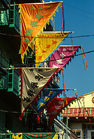 San Francisco, California, Chinatown. Chinese Temple Decorative Flags.