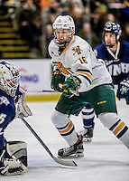 10 February 2017: University of Vermont Catamount Forward Derek Lodermeier, a Freshman from Brooklyn Center, MN, in second period action against the University of New Hampshire Wildcats at Gutterson Fieldhouse in Burlington, Vermont. The Catamounts fell to the Wildcats 4-2 in the first game of their 2-game Hockey East Series. Mandatory Credit: Ed Wolfstein Photo *** RAW (NEF) Image File Available ***