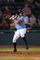 Josh Jung (15) of the Hickory Crawdads at bat against the Charleston RiverDogs at L.P. Frans Stadium on August 10, 2019 in Hickory, North Carolina. The RiverDogs defeated the Crawdads 10-9. (Brian Westerholt/Four Seam Images)
