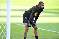 WASHINGTON, DC - NOVEMBER 8: Clement Diop #23 of Montreal Impact warming up during a game between Montreal Impact and D.C. United at Audi Field on November 8, 2020 in Washington, DC.
