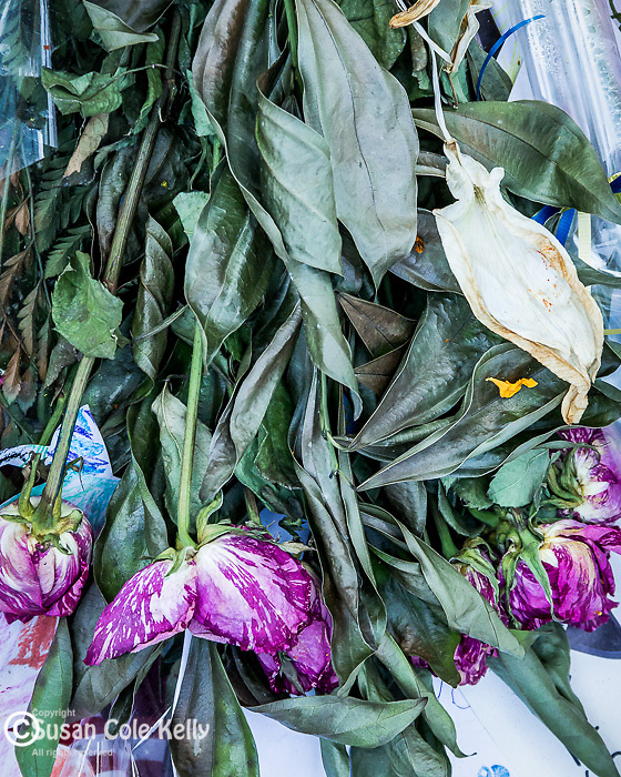 A bouquet from the Boston Marathon bombing memorial in Copley Square, Boston, Massachusetts, USA