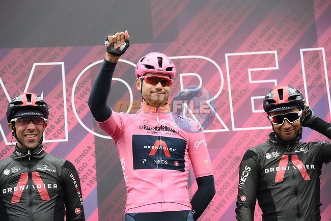Race leader Maglia Rosa Filippo Ganna (ITA) Ineos Grenadiers at sign on before the start of Stage 3 of the 2021 Giro d'Italia, running 190km from Biella to Canale, Italy. 10th May 2021.  <br /> Picture: LaPresse/Gian Mattia D'Alberto | Cyclefile<br /> <br /> All photos usage must carry mandatory copyright credit (© Cyclefile | LaPresse/Gian Mattia D'Alberto)