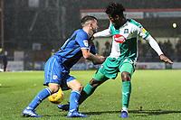 Brad Inman (Rochdale AFC) and Ashley Smith-Brown (Plymouth Argyle)  collide during the Sky Bet League 1 match between Rochdale and Plymouth Argyle at Spotland Stadium, Rochdale, England on 15 December 2018. Photo by James  Gill / PRiME Media Images.