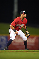 Mississippi Braves third baseman Rio Ruiz (5) during a game against the Pensacola Blue Wahoos on May 28, 2015 at Trustmark Park in Pearl, Mississippi.  Mississippi defeated Pensacola 4-2.  (Mike Janes/Four Seam Images)