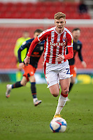 20th February 2021; Bet365 Stadium, Stoke, Staffordshire, England; English Football League Championship Football, Stoke City versus Luton Town; Sam Clucas of Stoke City chases a loose ball