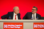 © Joel Goodman - 07973 332324 . 25/09/2016 . Liverpool , UK . Labour leader and Deputy leader JEREMY CORBYN and TOM WATSON applaud for Jo Cox at a session marking the assassinated MP's memory , at the ACC in Liverpool , during the first day of the Labour Party Conference . Photo credit : Joel Goodman