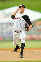 Starting pitcher Matthew Hopps #37 of the Kannapolis Intimidators in action against the Asheville Tourists at Fieldcrest Cannon Stadium July 26, 2010, in Kannapolis, North Carolina.  Photo by Brian Westerholt / Four Seam Images
