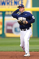 Cam Schiller (9) of the Oral Roberts Golden Eagles throws to first during a game against the Missouri State Bears on March 27, 2011 at Hammons Field in Springfield, Missouri.  Photo By David Welker/Four Seam Images