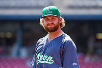 Clinton LumberKings pitcher Kyle Wilcox (34) prior to a Midwest League game against the Cedar Rapids Kernels on May 28, 2018 at Perfect Game Field at Veterans Memorial Stadium in Cedar Rapids, Iowa. Clinton defeated Cedar Rapids 4-3. (Brad Krause/Four Seam Images)
