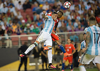 Action photo during the match Argentina vs Chile, Corresponding Group -D- America Cup Centenary 2016, at Levis Stadium<br /> <br /> Foto de accion durante el partido Argentina vs Chile, Correspondiante al Grupo -D-  de la Copa America Centenario USA 2016 en el Estadio Levis, en la foto: (i-d) Ramiro Funes Mori de Argentina y Arturo Vidal de Chile<br /> <br /> <br /> 06/06/2016/MEXSPORT/David Leah.