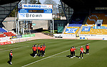 St Johnstone v Clyde…17.04.21   McDiarmid Park   Scottish Cup<br />The Clyde players take a look at the McDiarmid park pitch after arriving for the Scottish Cup game against St Johnstone.<br />Picture by Graeme Hart.<br />Copyright Perthshire Picture Agency<br />Tel: 01738 623350  Mobile: 07990 594431