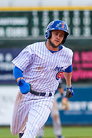 Iowa Cubs outfielder Donnie Dewees (5) rounds third base during a Pacific Coast League game against the San Antonio Missions on May 2, 2019 at Principal Park in Des Moines, Iowa. Iowa defeated San Antonio 8-6. (Brad Krause/Four Seam Images)