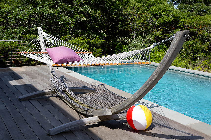 wooden hammock at pool area