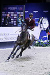 OMAHA, NEBRASKA - MAR 30: Sheikh Ali Al Thani rides Carolina during the FEI World Cup Jumping Final I at the CenturyLink Center on March 30, 2017 in Omaha, Nebraska. (Photo by Taylor Pence/Eclipse Sportswire/Getty Images)
