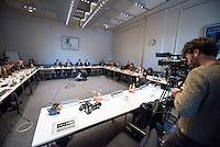 Pressekonferenz der Berliner AfD am Donnerstag den 5. Januar 2017 zum Thema Sicherheit nach dem Anschlag im Dezember 2016 auf den Berliner Weihnachtsmarkt.<br /> Im Bild vlnr. an der Stirnseite des Tisches: Thorsten Elsholtz, Pressesprecher der AfD Fraktion im Berliner Abgeordnetenhaus; Georg Pazderski, Fraktionsvorsitzender; Marc Vallendar, Mitglied des Innenausschusses; Hanno Bachmann, Mitglied des Innenausschusses.<br /> 5.1.2017, Berlin<br /> Copyright: Christian-Ditsch.de<br /> [Inhaltsveraendernde Manipulation des Fotos nur nach ausdruecklicher Genehmigung des Fotografen. Vereinbarungen ueber Abtretung von Persoenlichkeitsrechten/Model Release der abgebildeten Person/Personen liegen nicht vor. NO MODEL RELEASE! Nur fuer Redaktionelle Zwecke. Don't publish without copyright Christian-Ditsch.de, Veroeffentlichung nur mit Fotografennennung, sowie gegen Honorar, MwSt. und Beleg. Konto: I N G - D i B a, IBAN DE58500105175400192269, BIC INGDDEFFXXX, Kontakt: post@christian-ditsch.de<br /> Bei der Bearbeitung der Dateiinformationen darf die Urheberkennzeichnung in den EXIF- und  IPTC-Daten nicht entfernt werden, diese sind in digitalen Medien nach §95c UrhG rechtlich geschuetzt. Der Urhebervermerk wird gemaess §13 UrhG verlangt.]