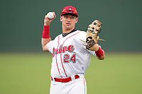 Left fielder Tyler Dearden (24) of the Greenville Drive before a game against the Asheville Tourists on Tuesday, August 31, 2021, at Fluor Field at the West End in Greenville, South Carolina. (Tom Priddy/Four Seam Images)