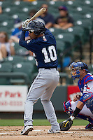 New Orleans Zephyrs second baseman Wilson Valdez #10 at bat against the Round Rock Express in the Pacific Coast League baseball game on April 21, 2013 at the Dell Diamond in Round Rock, Texas. Round Rock defeated New Orleans 7-1. (Andrew Woolley/Four Seam Images).