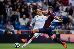 Cristiano Ronaldo (l) of Real Madrid battles for the ball with David Rodriguez Lomban of SD Eibar during the La Liga 2017-18 match between Real Madrid and SD Eibar at Estadio Santiago Bernabeu on 22 October 2017 in Madrid, Spain. Photo by Diego Gonzalez / Power Sport Images