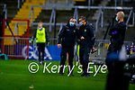 Kerry Manager Peter Keane and Kerry Selector Maurice Fitzgerald during the Munster GAA Football Senior Championship Semi-Final match between Cork and Kerry at Páirc Uí Chaoimh in Cork.