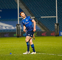 19th March 2021; RDS Arena, Dublin, Leinster, Ireland; Guinness Pro 14 Rugby, Leinster versus Ospreys; Ciarán Frawley of Leinster adds two more points to the scoredboard  7 - 0