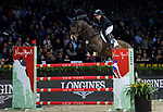 Meimei Zhu of China riding Charmeur 413 competes in the Masters One DBS during the Longines Masters of Hong Kong at AsiaWorld-Expo on 11 February 2018, in Hong Kong, Hong Kong. Photo by Diego Gonzalez / Power Sport Images
