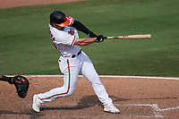 Baltimore Orioles Ryan McKenna (65) bats during a Major League Spring Training game against the Philadelphia Phillies on March 12, 2021 at the Ed Smith Stadium in Sarasota, Florida.  (Mike Janes/Four Seam Images)