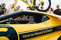 Picture by Russell Ellis/russellis.co.uk/SWpix.com - image archived on 25/04/2019 Cycling Tour de France 2018 - Team Sky at the Tour de France - STAGE 21: HOUILLES - PARIS Champs-Elysées 29/07/2018<br /> - Team Sky yellow Ford GT Geraint Thomas